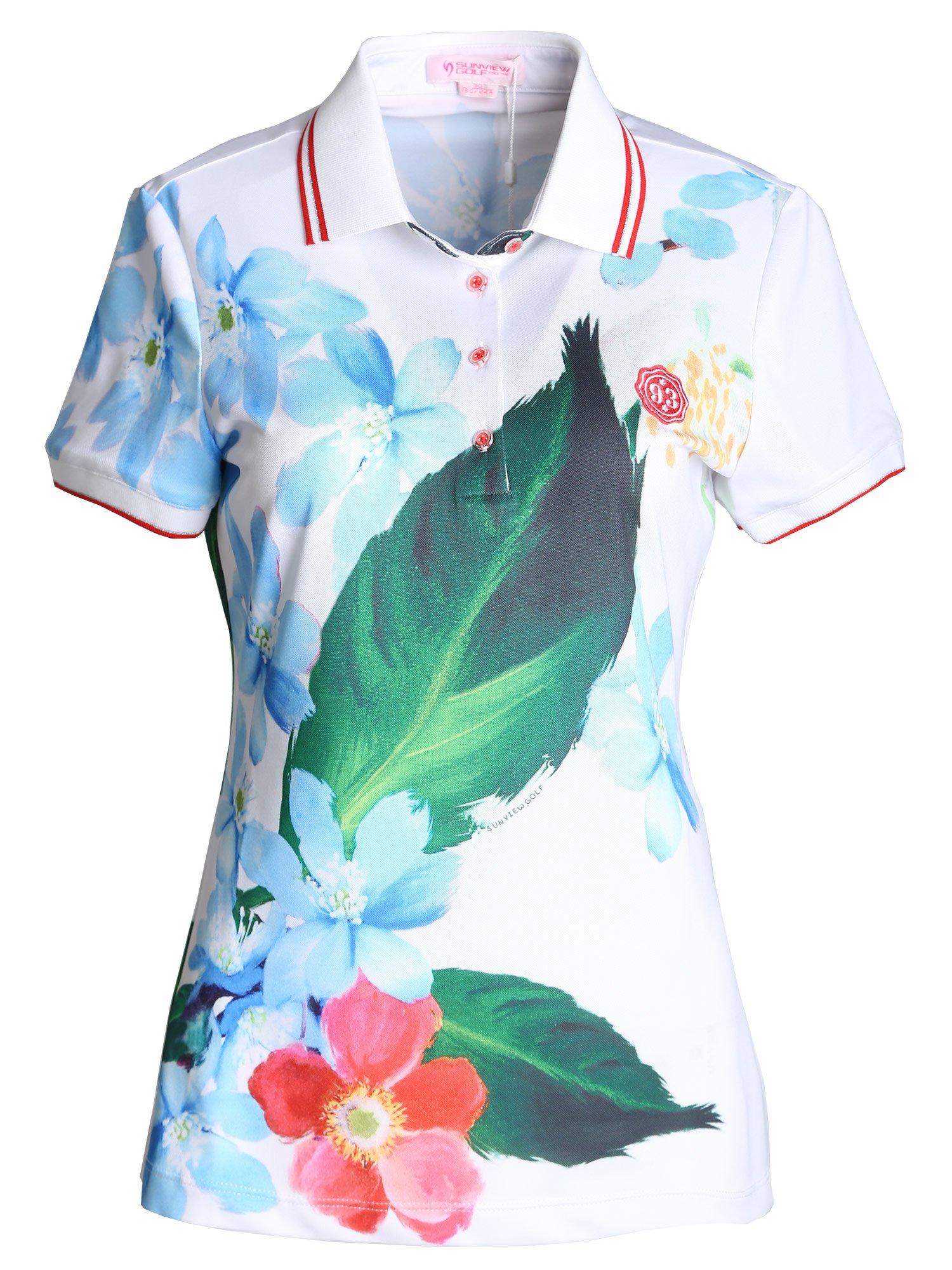 SunviewGolf Women's Elegant Floral Print Golf Shirt Summer Short Sleeve Polo Shirt Blue S