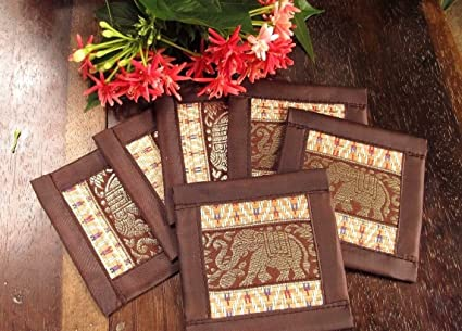 Amazon 6 pcs gift set chang silk coaster thailand handmade 6 pcs gift set chang silk coaster thailand handmade food table mightylinksfo