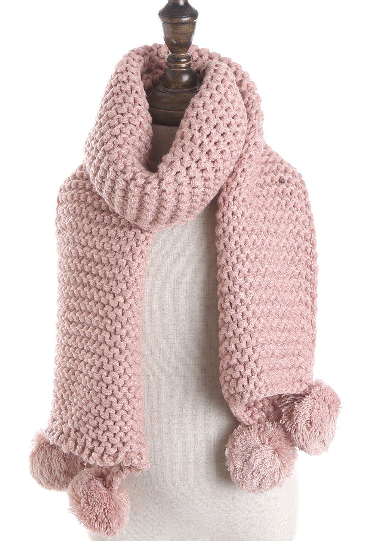 Kids Winter Warm Thick Knit Scarf Fashion Toddler Cute Soft Scarves With Pom Pom