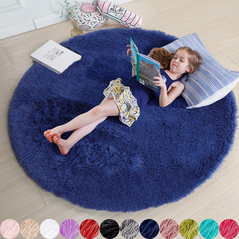 Navy Blue Rug for Bedroom,Fluffy Circle Rug 5'X5' for Kids Room,Furry Carpet for Teen's Room,Shaggy Circular Rug for Nursery Room,Fuzzy Plush Rug for Dorm,Indigo Carpet,Cute Room Decor for Baby