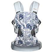 BABYBJORN Baby Carrier One - Leaf Print/Pale Blue, Cotton (Limited Edition Color)