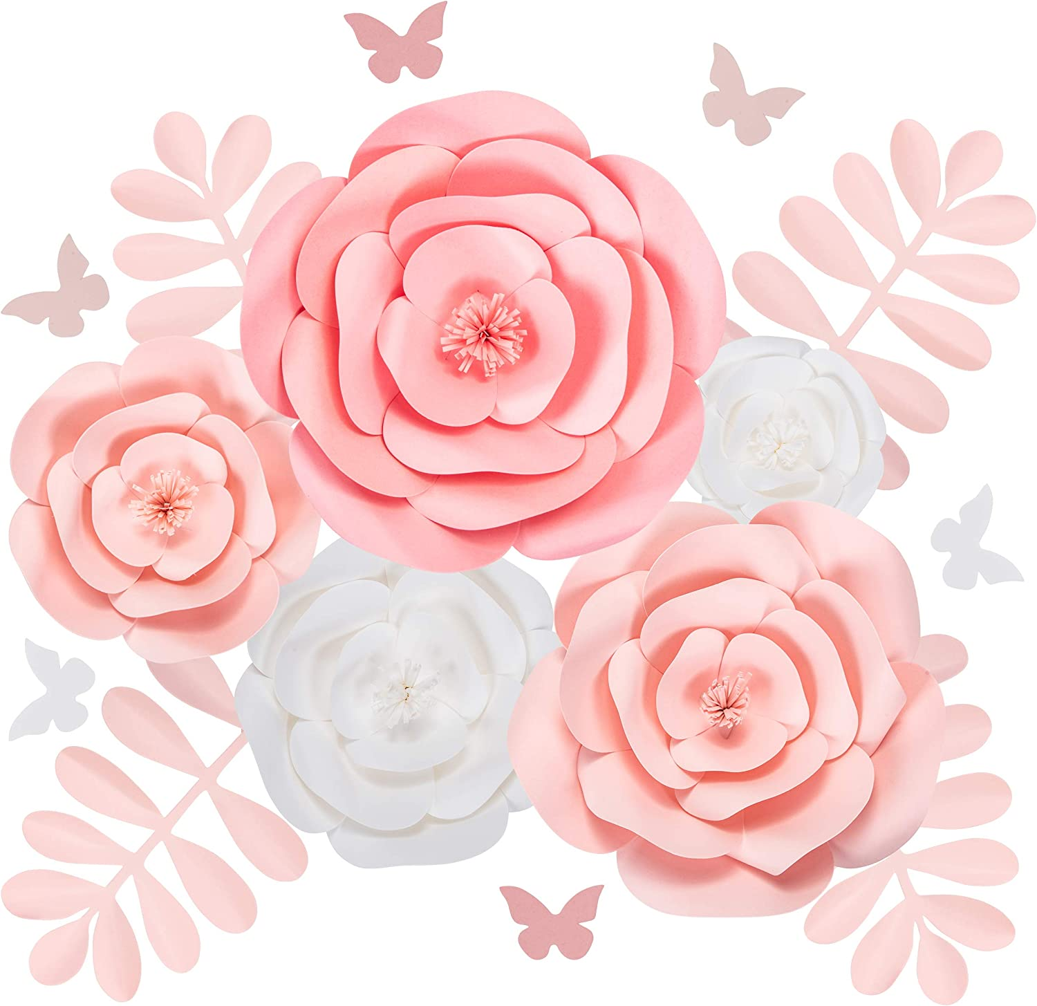 Rainbows & Lilies Large 3D Paper Flowers Decorations for Wall, Wedding, Bridal Shower, Baby Shower, Nursery Decor, Centerpieces, Flower Backdrop, Party, 15-Pieces, Handmade & Assembled (Pink, White)