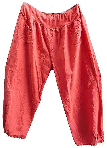 Luigi Moda Damen-Hose-Leinenhose-Ballonhose-leicht-Lagenlook-breites  Gummibund d25cd0d85e
