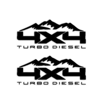 Amazon.com: 4X4 Turbo Diesel Mountain Bedside Vinyl Decal for Ford Trucks Gloss Black: Automotive