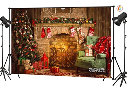 lb 7x5ft christmas photography backdrop vinyl customized christmas tree gifts fireplace sofa decorations party banner photo - Fireplace Christmas Decorations Amazon