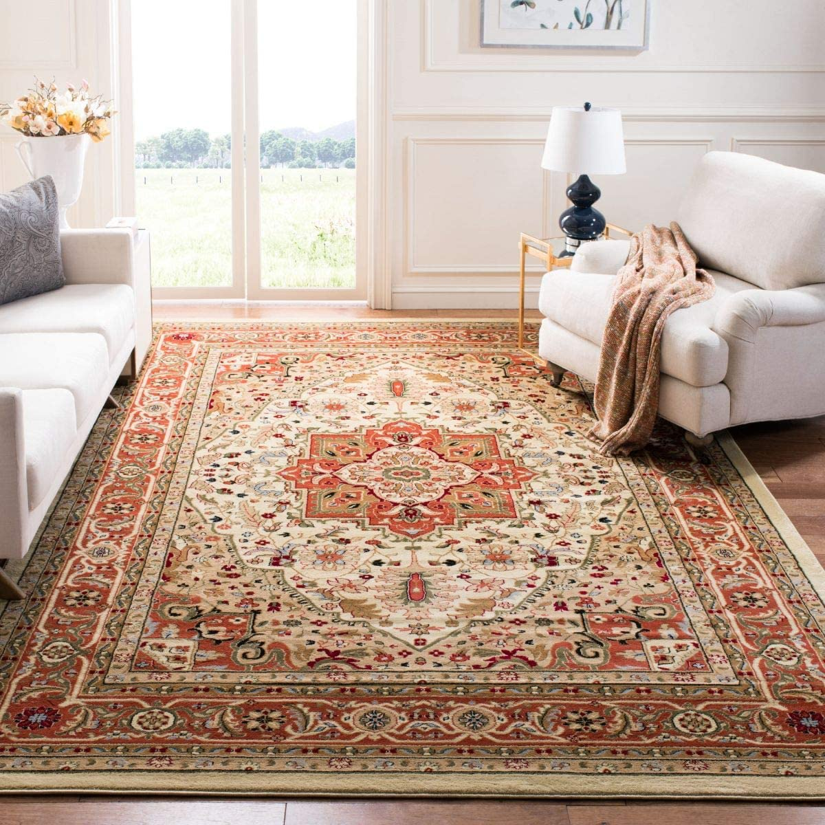 Safavieh Lyndhurst Collection LNH330R Traditional Oriental Medallion Area Rug, 12 Square, Ivory Rust