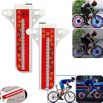 CAMWAY - 2 luces LED para radios de bicicleta de montaña, 32 unidades, para ruedas, neumáticos, diseño