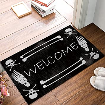 HomeCreator 23.6 X 15.7 Inch Skeleton Skull Welcome Door Mats Kitchen Floor  Bath Entrance Rug Mat