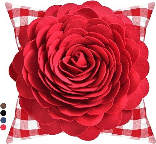 Contempo Lifestyles Flower Pillow Decorative Throw Pillow 3D Rose Vintage Flower Pillow