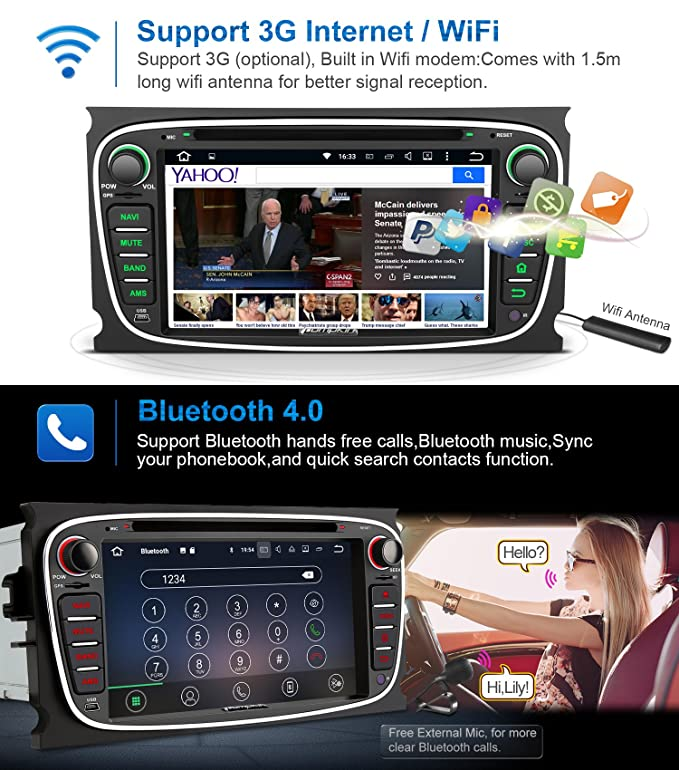 Pumpkin Android 7.1 Autoradio GPS con 2GB Ram 32GB Rom para Ford Focus Mondeo, Negro: Amazon.es: Electrónica