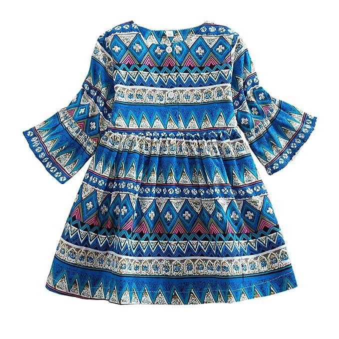 89ee310864f Little Girls Boho Dresses Long-Sleeve Vintage Printed Bohemian Tunic Dress