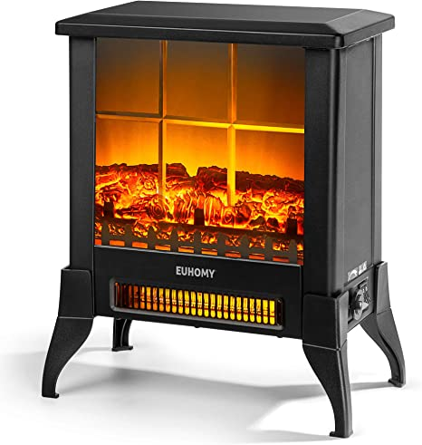 EUHOMY Electric Fireplace Heater CSA Certified Overheating Safety Protection Freestanding Fireplace Stove Indoor Space Heater with Realistic Flame Effect Easy to Assemble- 18 1400W