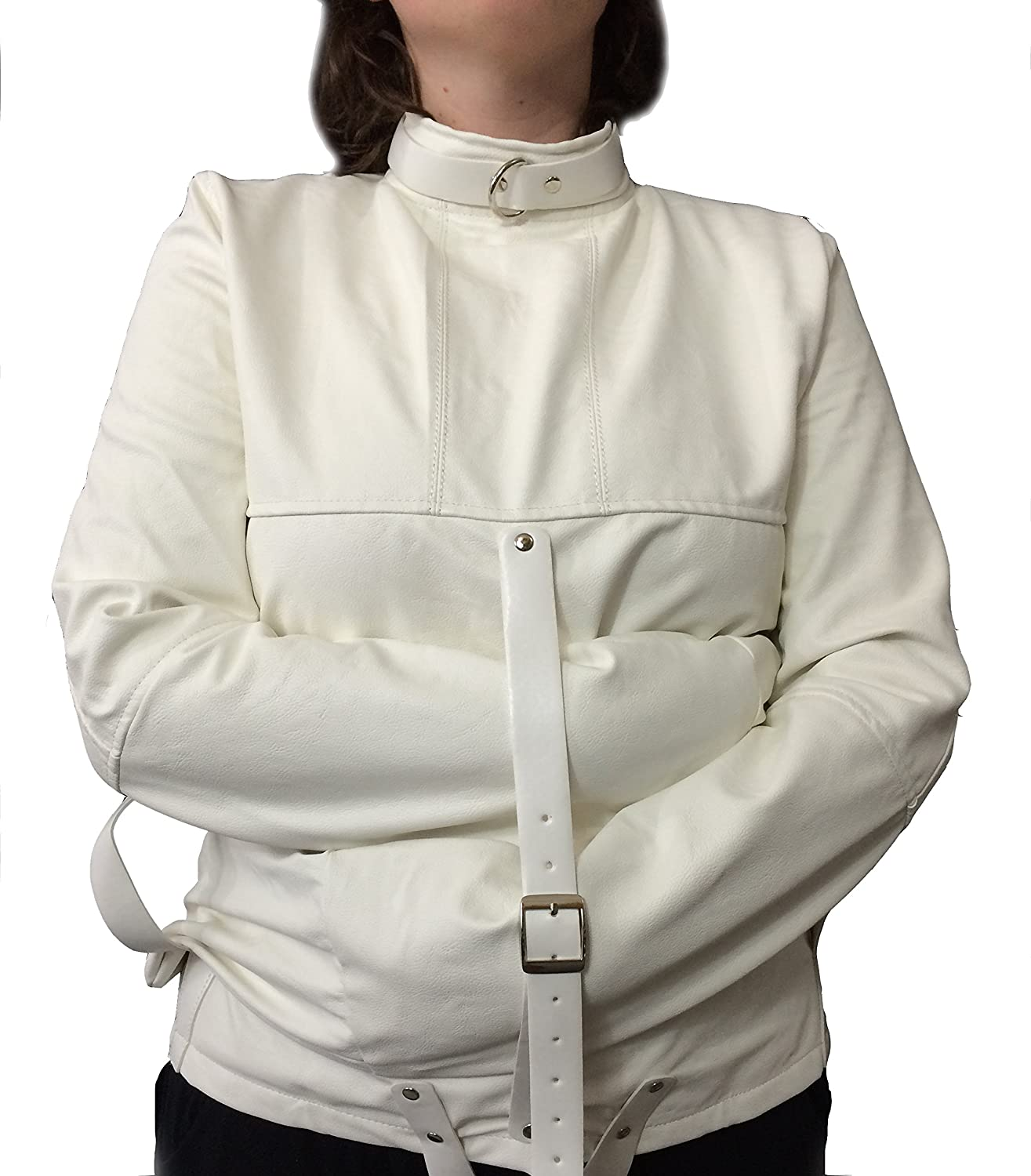Amazon.com: Unisex White Faux Leather Straight Jacket Costume ...