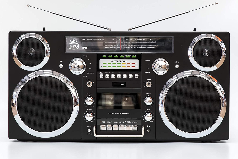 GPO Brooklyn 1980S-Style Portable Boombox - CD Player, Cassette Player, FM Radio, USB, Wireless Bluetooth Speaker - Black