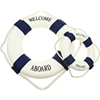 Bilipala Rustic Nautical Decorative Welcome Cloth Life Ring Buoy Home Wall Door Hangings Decor Blue Pack of 2