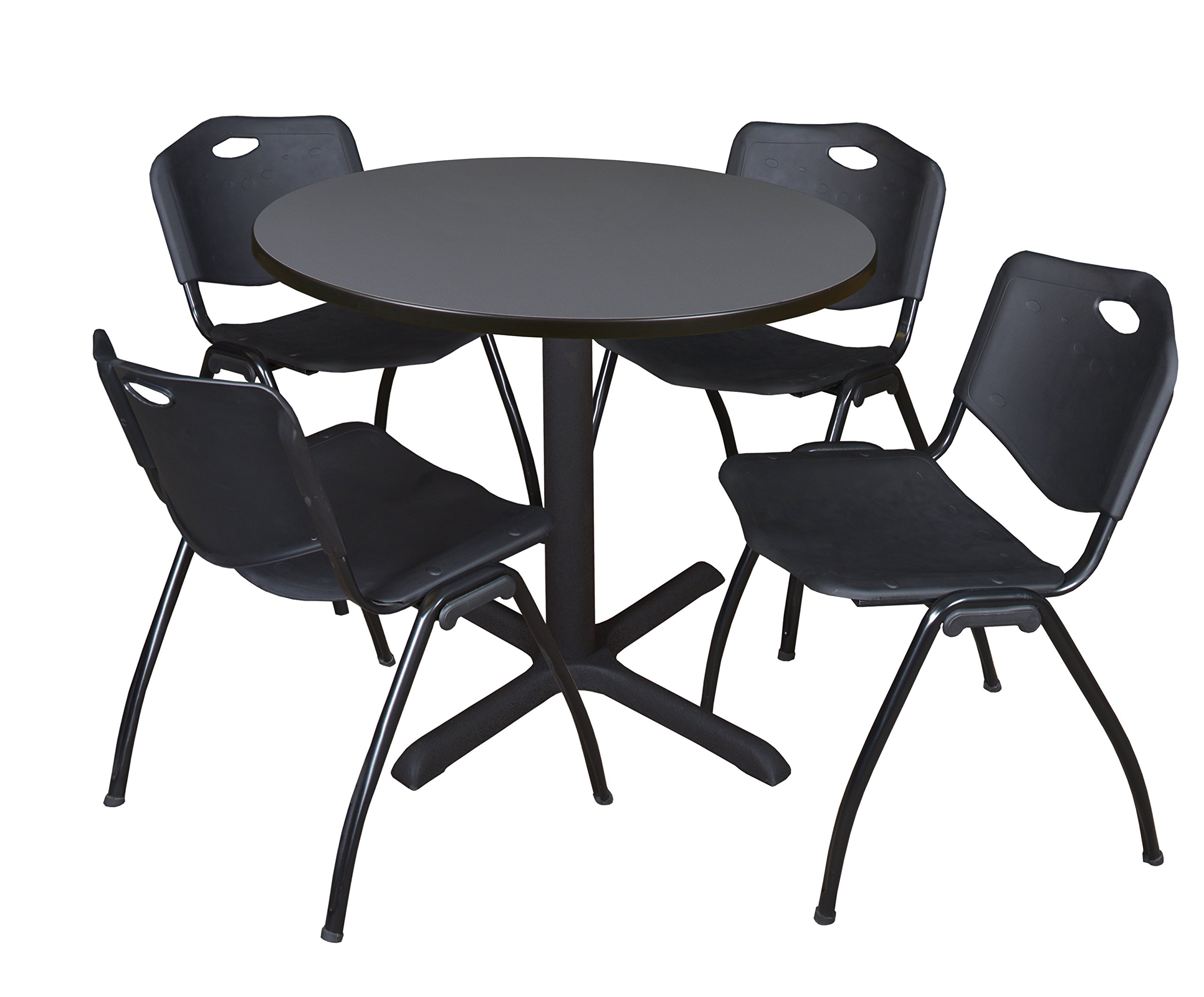 Cain 42'' Round Breakroom Table- Grey & 4 'M' Stack Chairs- Black