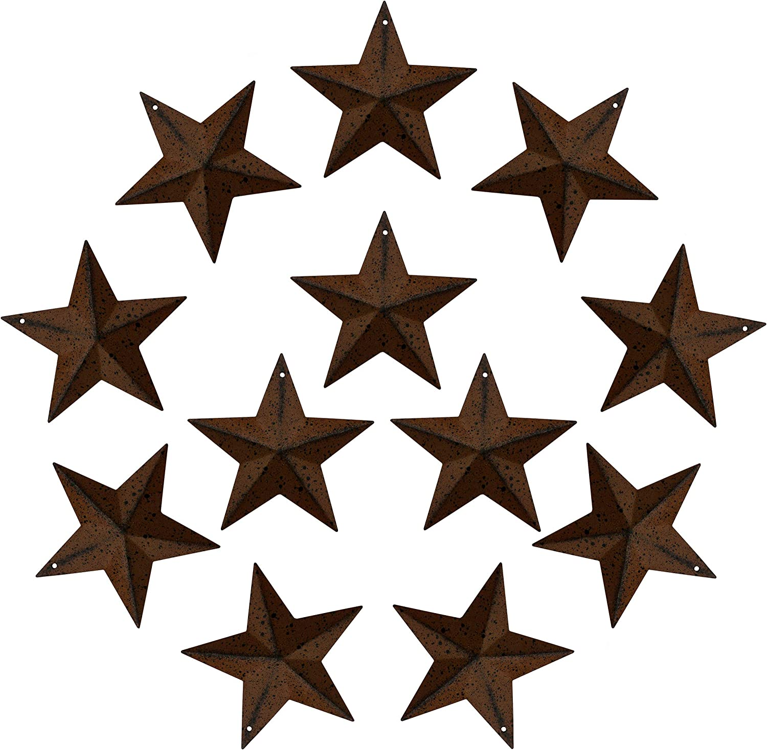 CVHOMEDECO. Primitives Rustic Antique Vintage Gifts Rusty/Black Metal Barn Star Wall/Door Decor, 3-Inch, Set of 12.