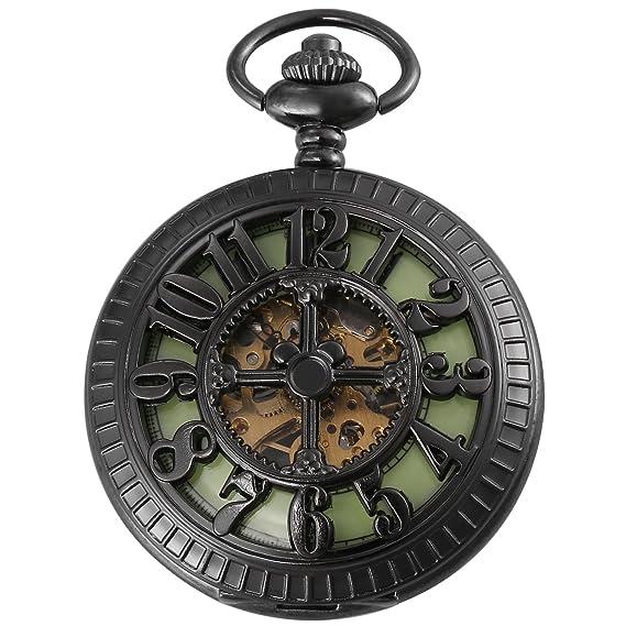AMPM24 WPK194 Reloj Bolsillo de Cuerda Manual de Negro: Amazon.es: Relojes