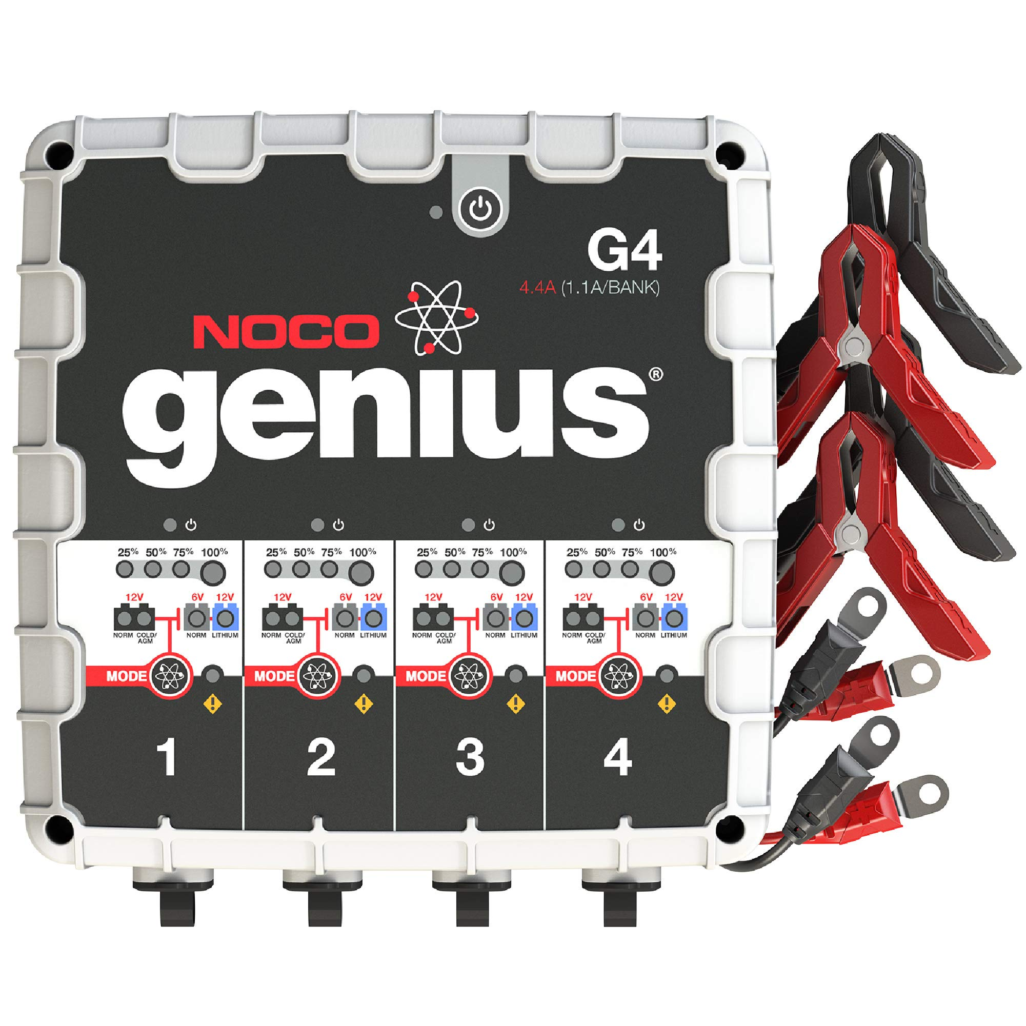 NOCO Genius G4 6V/12V 4.4 Amp 4-Bank Battery Charger and Maintainer by NOCO