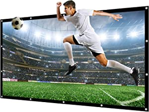 NIERBO 150 inch Projector Screen 16:9 NIERBO Movie Screen for Projectors Home Outdoor Indoor Office Church Projector Screen of Canvas Material with Double Sided Projection for Front and Rear