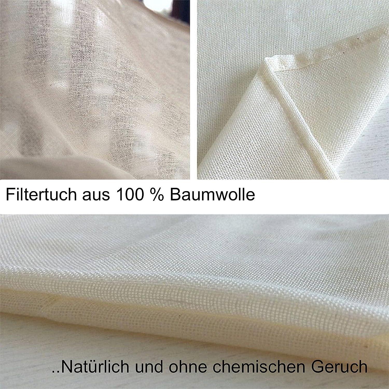 Panno natural de 100% algodón, filtrar para alimentos (horchata de almendras o soja , sopas, fabricar Vino), 46 x 43 cm: Amazon.es: Hogar