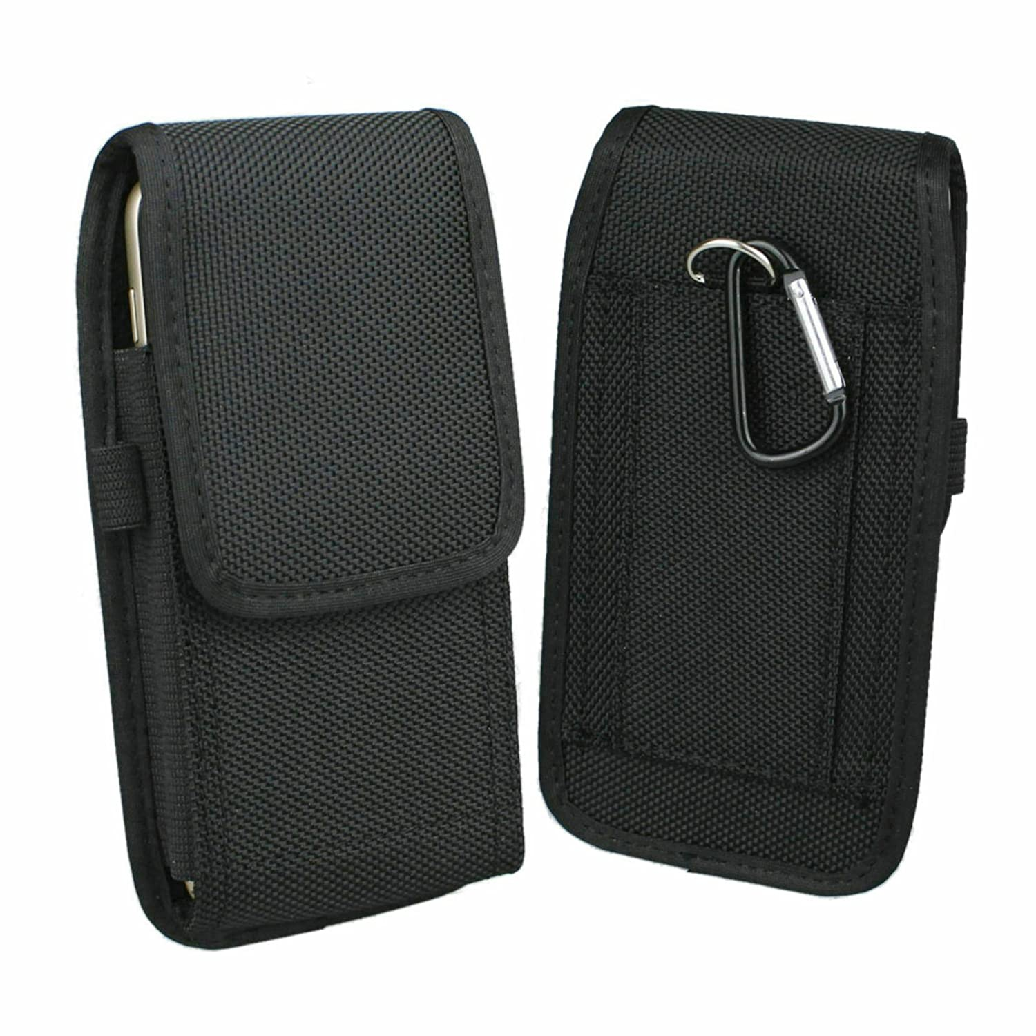 Aubaddy Vertical Nylon Holster Pouch with Belt Loop for iPhone X, iPhone Xs, Samsung Galaxy S8, Galaxy S9, Huawei P20, P20 Lite - Fit with a Thin Case (Black)