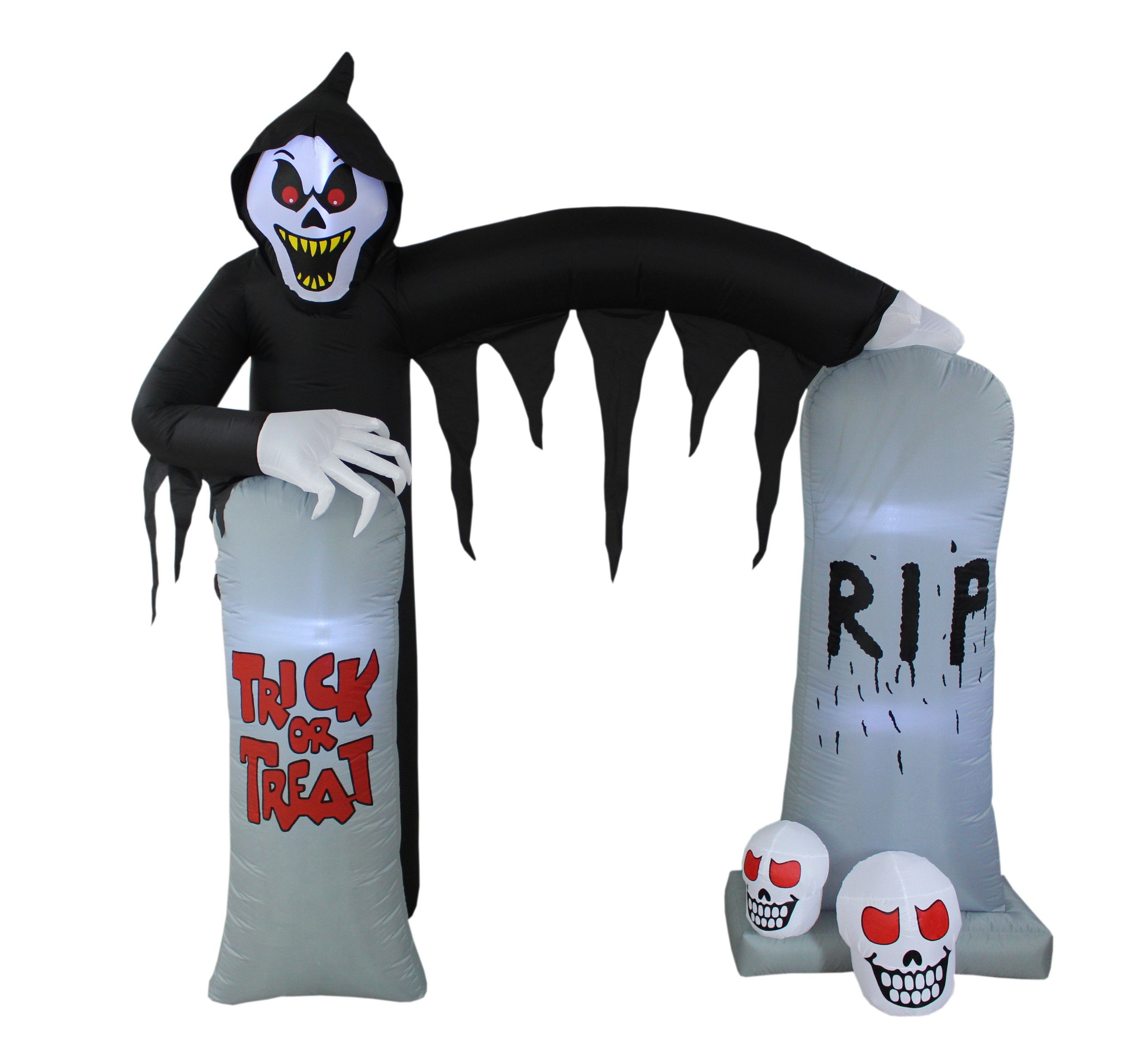 8 Foot Lighted Halloween Inflatable Ghosts Skeleton Grim Reaper Skulls Tombstone Archway Arch Indoor Outdoor Yard Lawn Party Prop Decoration