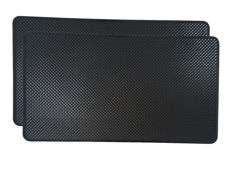 GZTB 2 Pcs Black Non-Slip Mat 10.6' x 5.9', Anti-Slip Car Gel Pad Sticky Pads for Phone, Sunglasses, CD, Keys, Card and Coin ect.