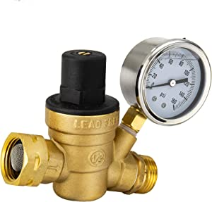 RecPro RV Brass Water Pressure Regulator | RV Plumbing | Adjustable Water Pressure Regulator | with Gauge