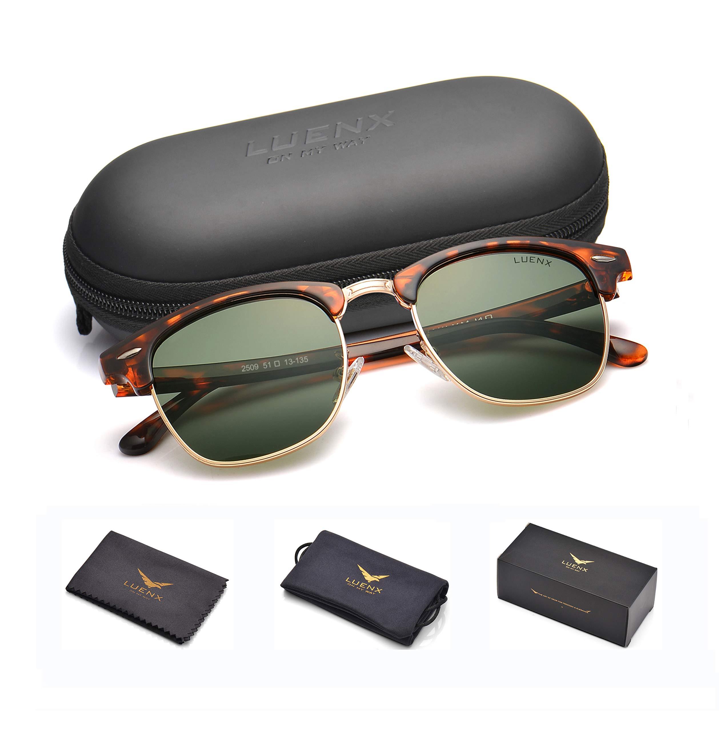 LUENX Men Semi Rimless Polarized Sunglasses Women Grey Green Lens Tortoise Retro Frame 51MM,UV 400 with Case by LUENX