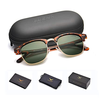 56929682281 LUENX Men Semi Rimless Polarized Sunglasses Women Grey Green Lens Tortoise  Retro Frame 51MM