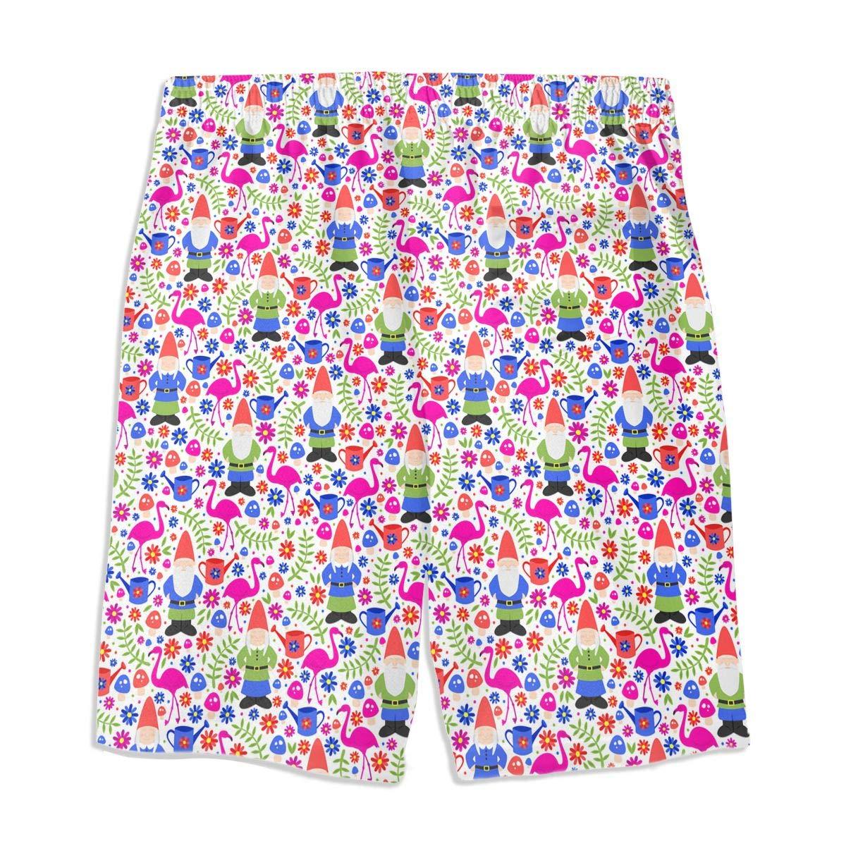 Chrismas Santa Flamingo Flower Woodland White Teen Swim Trunks Bathing Suit Shorts Board Beach