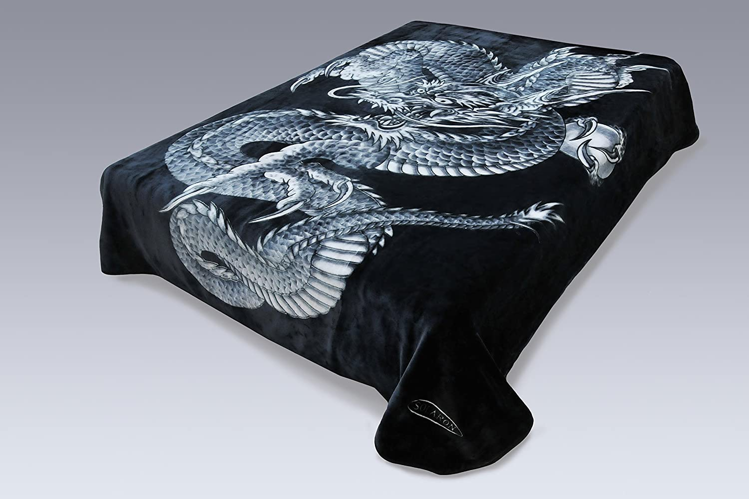 amazoncom korean solaron super high quality thick mink blanket king dragon black home u0026 kitchen - King Size Blanket