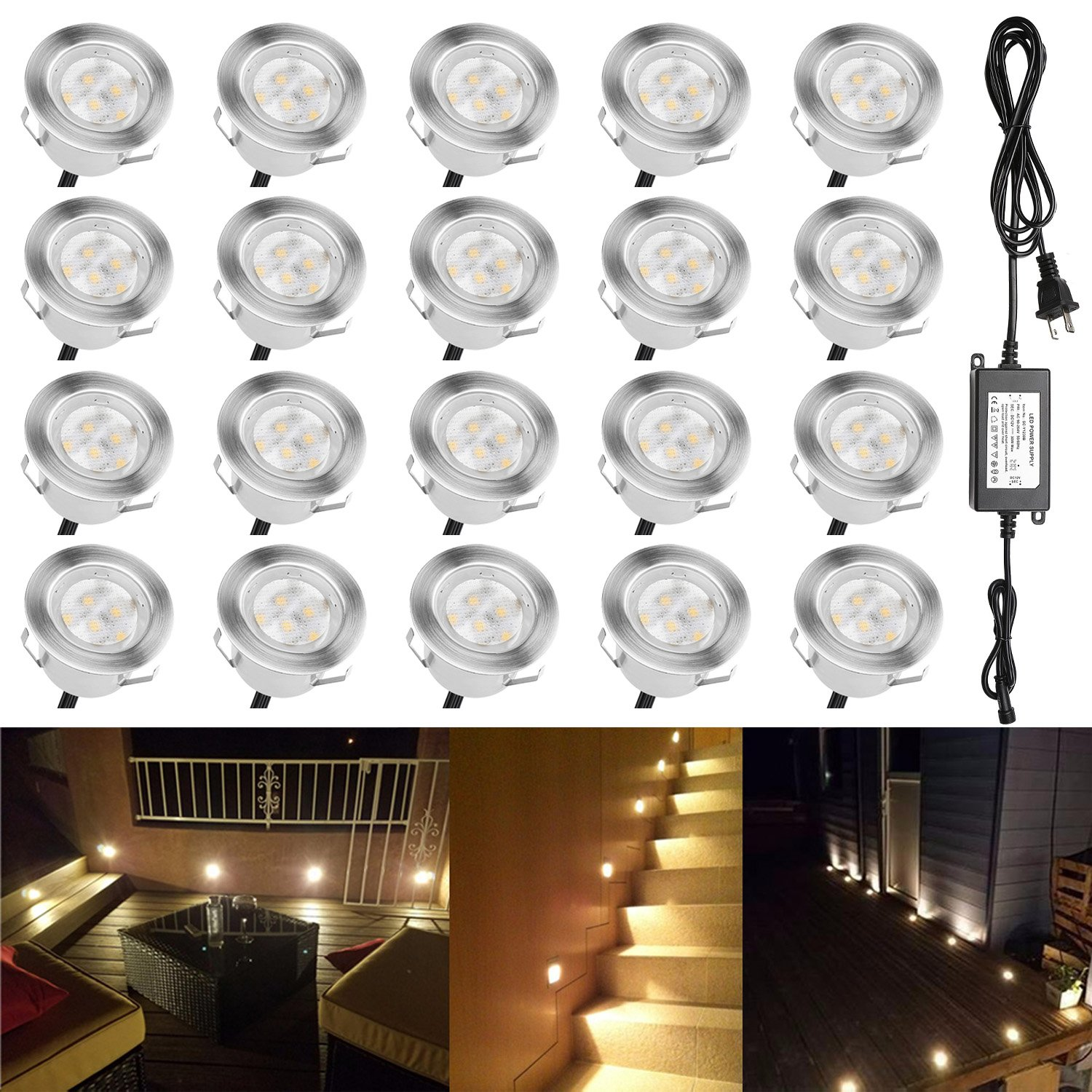QACA Low Voltage LED Deck Lighting Kit Stainless Steel 1W Waterproof Outdoor Yard Garden Decoration Lamps Landscape Pathway Patio Step Stairs Warm White LED In-ground Lights, Pack of 20