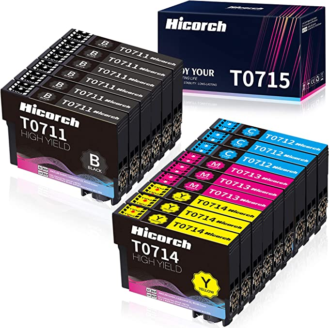 Hicorch Ersatz Für Epson T0711 T0712 T0713 T0714 T0715 Patronen Kompatible Mit Epson Stylus Sx100 Sx218 Sx415 Sx515w Sx200 Dx4000 Dx4050 Dx7450 Dx8400 Dx8450 6 Schwarz 3 Cyan 3 Magenta 3 Gelb