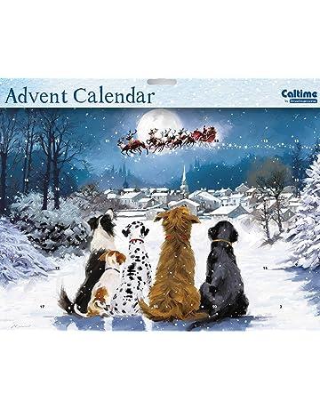 Advent Calendar (WDM0031) - Night Before Christmas - Dogs Watching Santa - Glitter Varnished