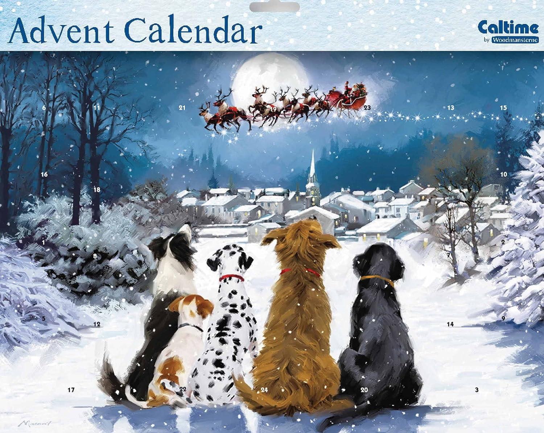 Calendario de Adviento (Wdm0031, la noche antes de Navidad, diseño con perros viendo a Papá Noel, con lacado brillante) Caltime Ltd