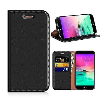 MOBESV Funda Cartera LG K10 2017, Funda Cuero Movil LG K10 2017 Carcasa Case con Billetera/Soporte para LG K10 2017 - Negro