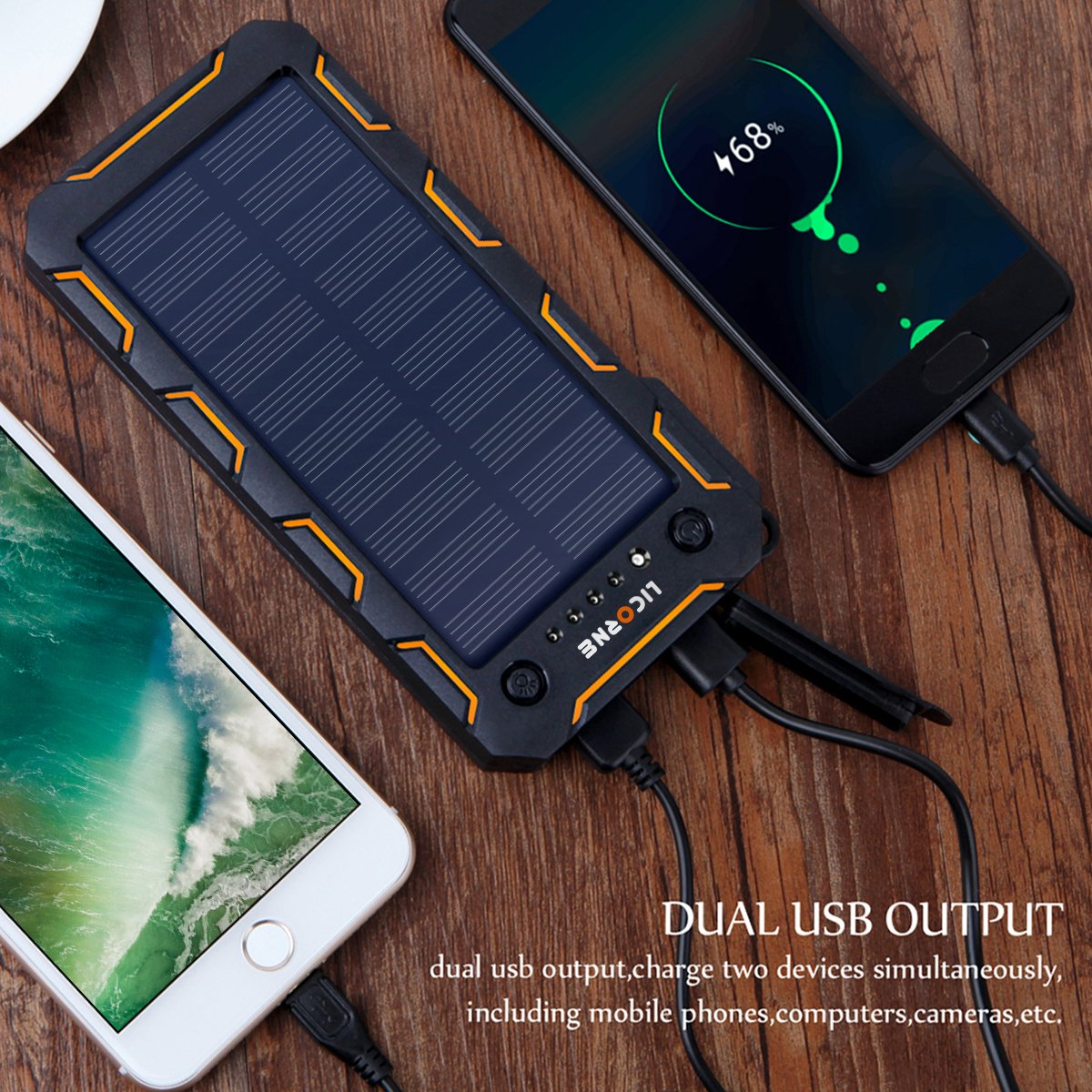 Solar Chargers,15000mAh Portable Solar Power Bank High Efficiency Sunpower Cellphone Chargers Rain-resistant Dirt/Shockproof Backup with Dual USB Port Solar Battery Charger for iPhone 7 / 6s / Plus, iPad Pro / Air 2 / mini, Galaxy S7 / S6 /