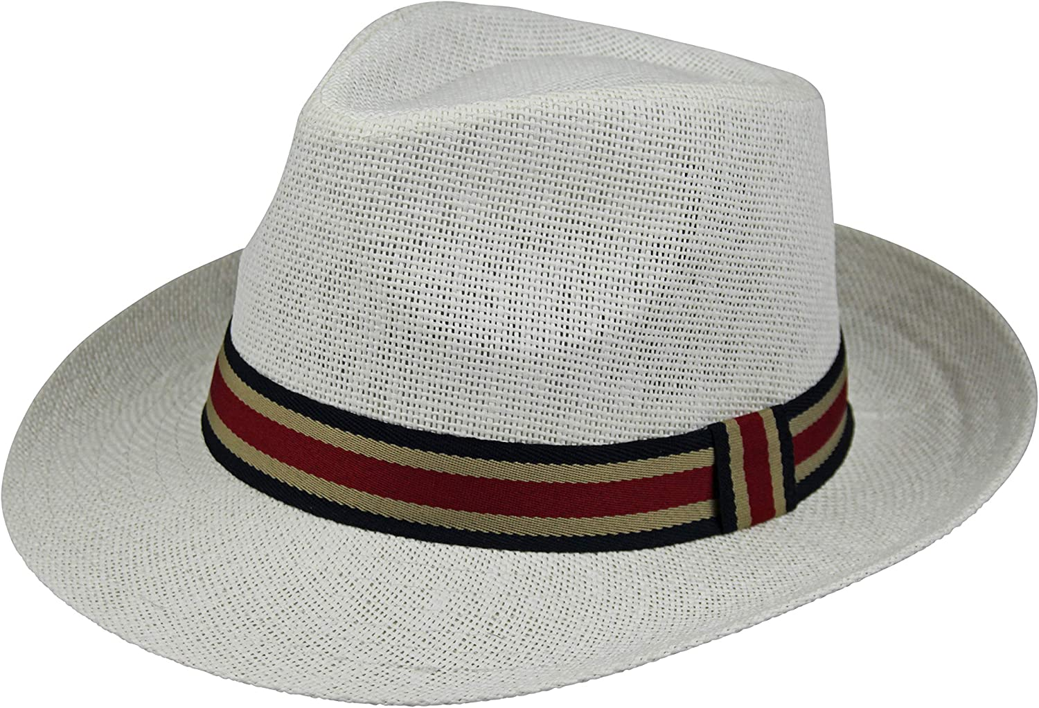By Neki Mens Trilby Hat with Contrasting Striped Hat Band
