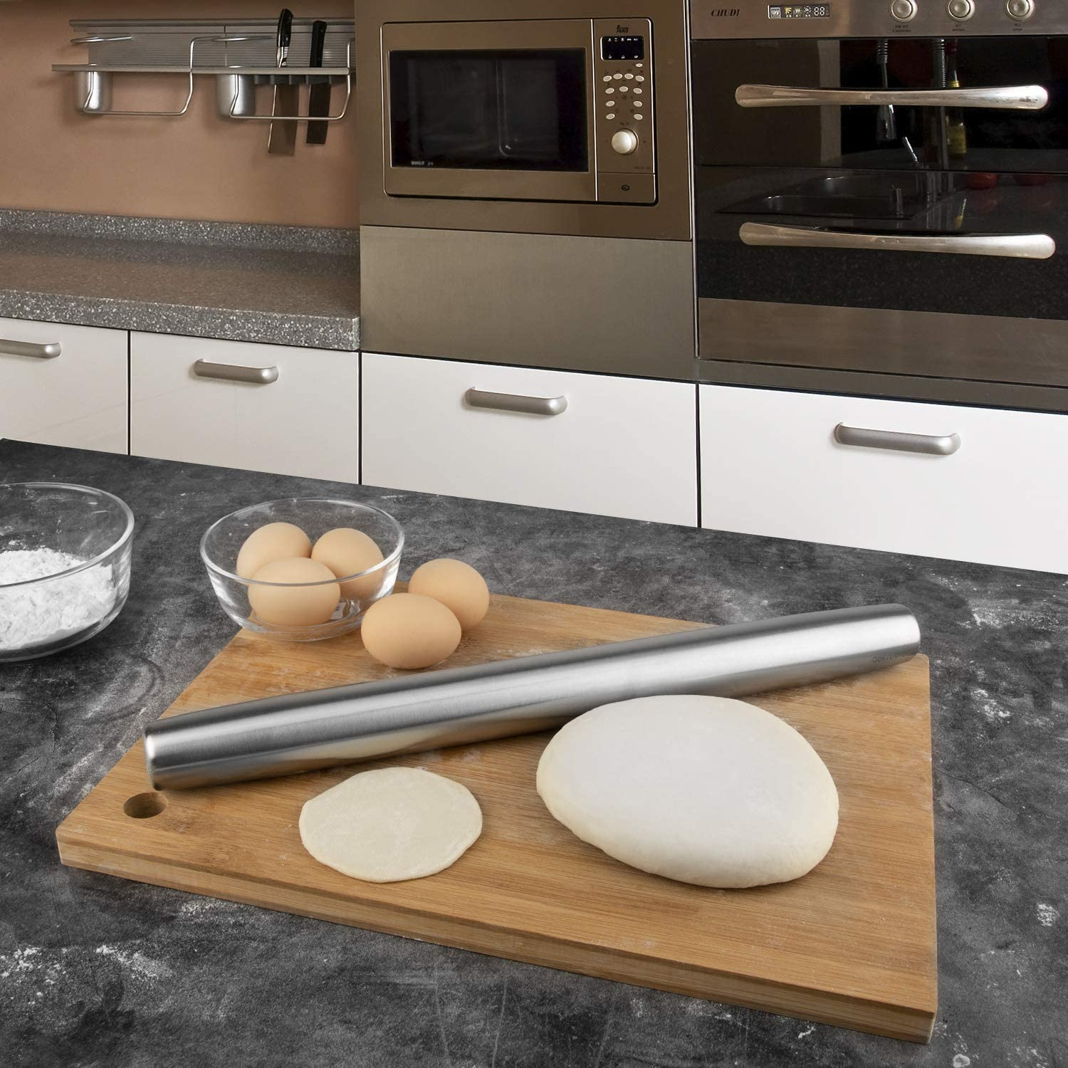 Pasta Cookies Dumpling 16-inch Professional French Rolling Pins for Baking Dough Pizza Pastries Rolling Pin and Silicone Baking Mat Set Stainless Steel Dough Roller Fondant Pie