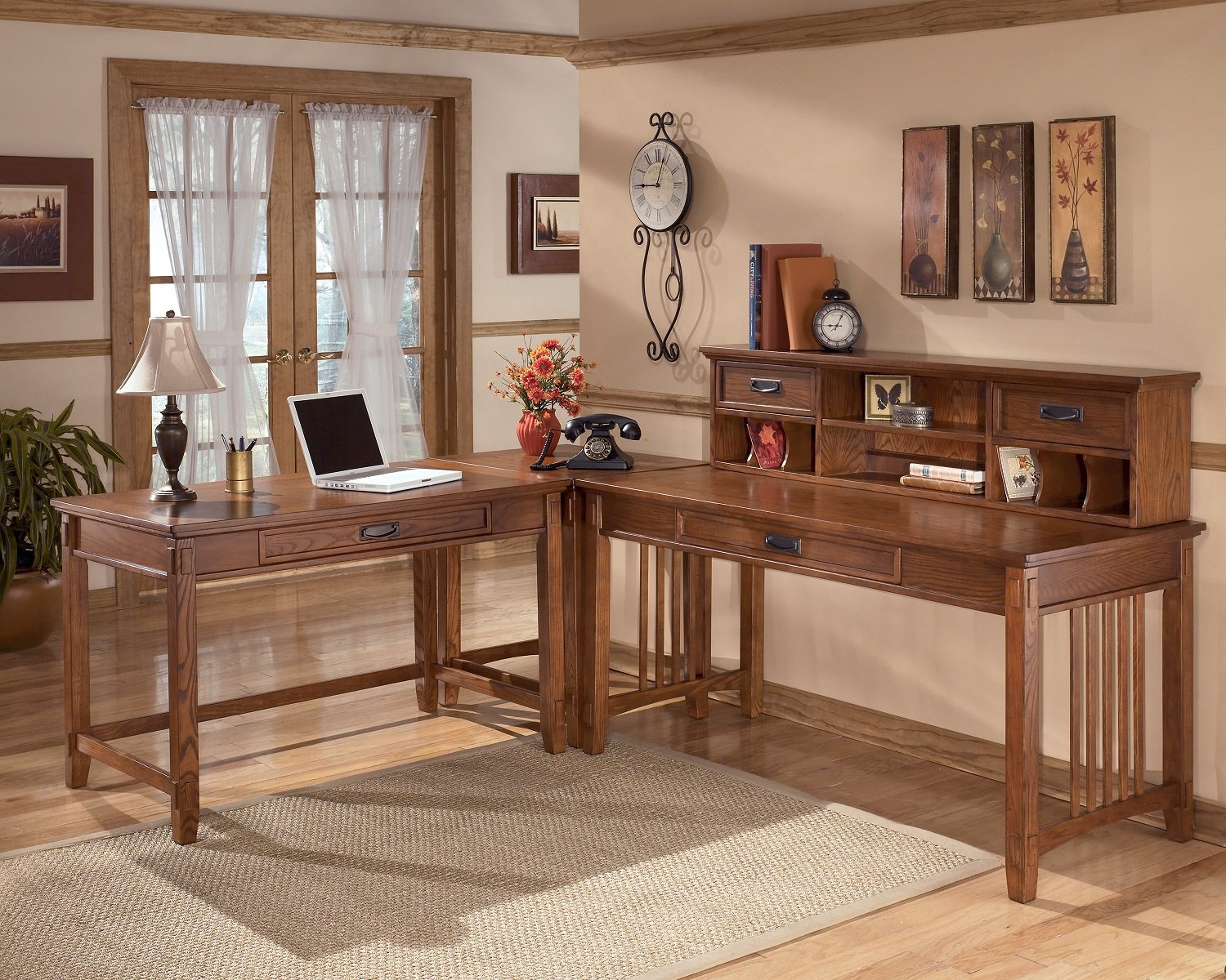 Crossingland Medium Brown Home Office Desk with Hutch