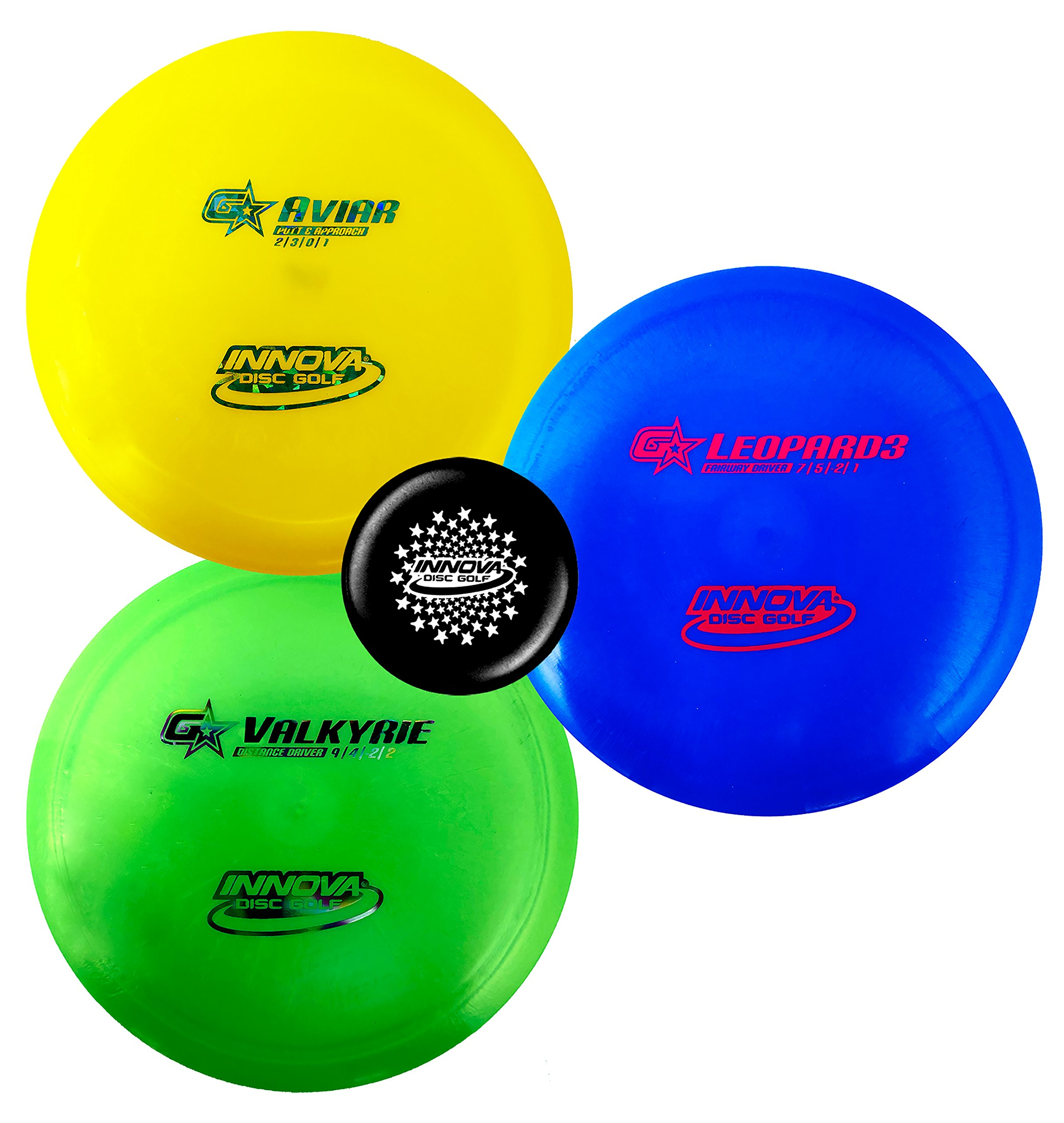 Innova Premium Beginner's Disc Golf Set - GStar Putter, Mid-Range, Driver - Durable, Flexible and Supple Plastic- Colors Will Vary - 150-169g (3 Pack) by Innova Discs