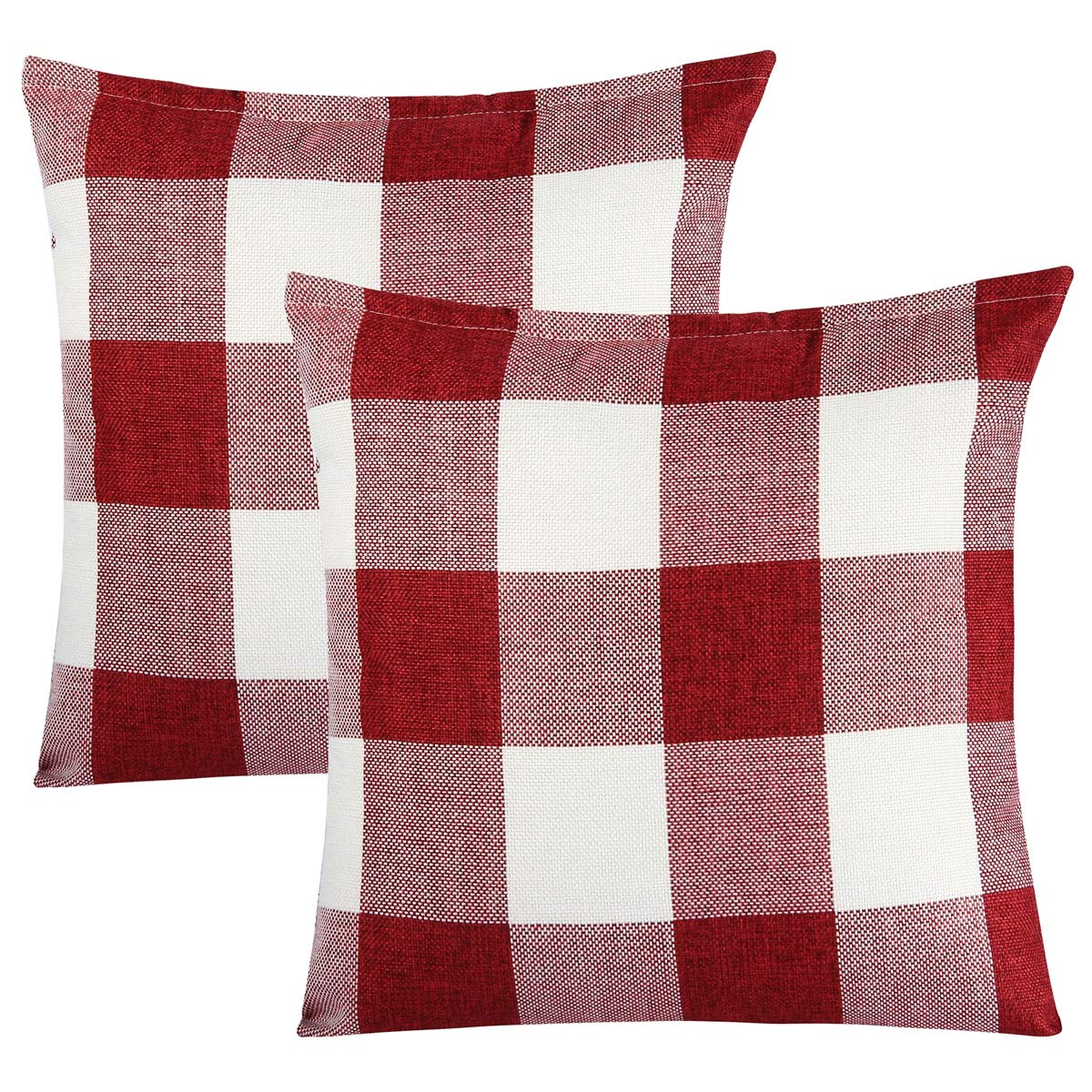 Steven.Smith 2 Pack Rustic Farmhouse Decorative Buffalo Checkers Plaids Throw Pillow Cover Xmas Decor Cushion Covers Square 18x18 Inch Linen Home Office Living Room Sofa (Black and White)