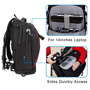 Amazon.com : CADeN DSLR Camera Backpack Travel Waterproof Anti Theft Photography Case Bag for 2 Cameras 7 Lens with USB Charging Port Rain Cover Compatible ...
