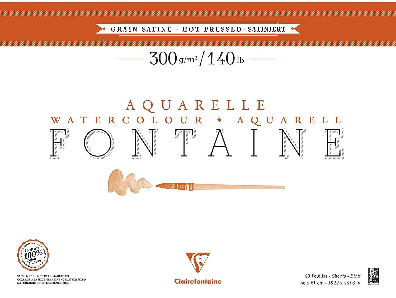 Clairefontaine 96347 C bloque fuente satinado 20 hojas encollées 4 lados (46 x 61 cm) 300 G