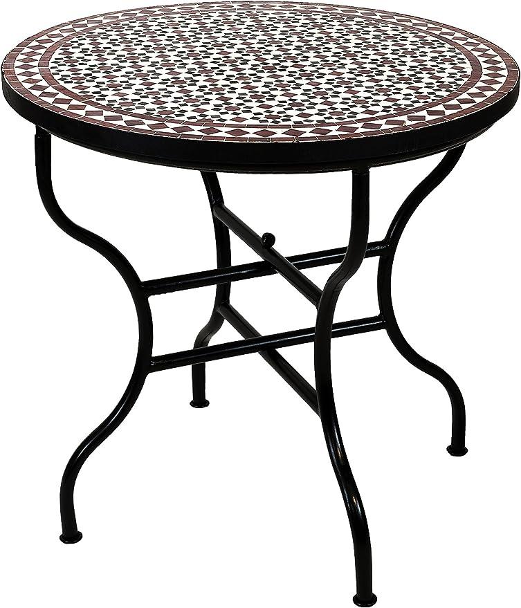 Original marroquí mosaico mesa Jardín Mesa Diámetro 80 cm Grande redondo plegable | redonda plegable mosaico comedor Mediterran | como mesa plegable para terraza o jardín |: Amazon.es: Jardín