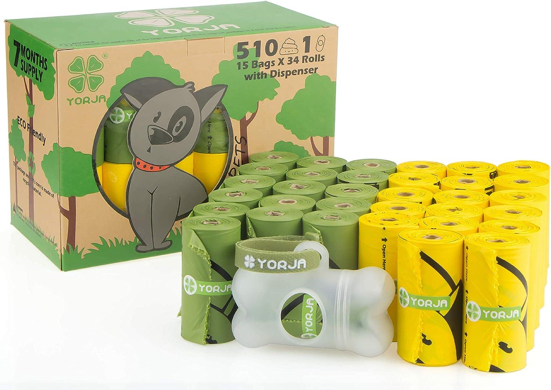 YORJA Bolsas para Excrementos de Perro con Dispensador,34 Rollos/510 Unidades,Extra Grueso,Fuerte y a Prueba de Fugas Biodegradable Bolsas para Caca de Perro