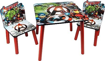 Marvel, Avengers 48573-s – Juego de Mesa + 2 sillas, MDF, Rojo/Azul/Gris, Talla única: Amazon.es: Hogar