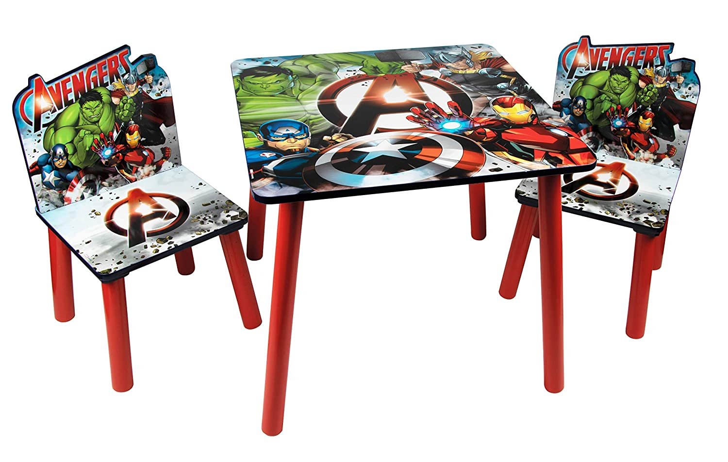 Global Industry 48573-S Lot de Table + 2 Chaises, MDF, Rouge/Bleu/Gris, Taille Unique